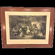 SALE Antique Large Wedding Eve Engraving in Oak Wood Frame 1865 La Veille Des Noces ...