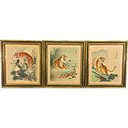 SALE Vintage 3 Chinese Tiger Watercolor Paintings on Silk Framed and Matted 1910s-1940s ...