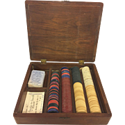 Antique Clay & Paper Poker Chips and Deck of Cards in Old Mahogany Case WWI Vintage