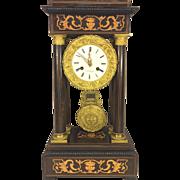SALE Antique French Empire Portico Mantel Clock Inlaid Wood Case Runs Bell Strike FC Mark ...