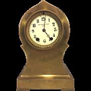 SALE Antique Seth Thomas Brass or Bronze Case Mantel Clock Barrel Pendulum Porcelain Face Not