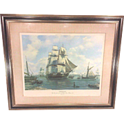 Vintage Roy Cross Ltd Edition Print 29/750 USS Constitution Olod Ironsides Moored on the ...