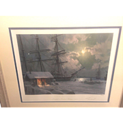 Vintage John Stobart Limited Edition Print 1998   New Bedford Snowfall on Central Wharf 1875