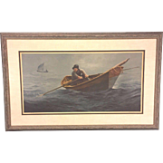 "SALE Vtg Wellington Wood JR Limited Edition Pencil Signed Nautical Print of ""The Doryman"""