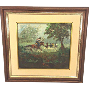 SALE Vintage Rodolfo Tarallo Oil Painting in Frame Cowbow Rounding Up Horses on Pampas