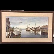 SALE Vintage Wellington Wood Jr. Limited Edition Print of Fishing Shacks Framed & Matted (#372