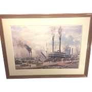 SALE Vintag Roy Cross Open Edition Print of Port of New Orleans & Paddlewheelers Framed & Matt