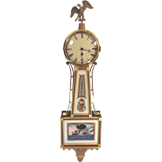 SALE Vintage Foster Campos Banjo Clock Beautiful Wood Case and Stenciled Tablets Time Only ...