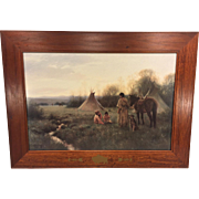SALE Vtg American Indian Scene Print Indian Woman w/ Children w/ Beautiful Wood Frame