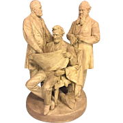 SALE Vtg John Rogers Groups Statue The Council of War 1868 Cast Plaster Lincoln Grant ...