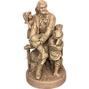 SALE Vintage John Rogers Statue Rip Van Winkle at Home 1871 Cast Plaster