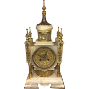 SALE Antique French Clock Onyx Case with Brass Accents No Pendulum Not Running