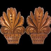 SALE Vintage Pair of Wood Fleur De Lis Finials Sconces Architectural Pieces