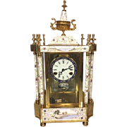 SALE Vintage Crystal Regulator Clock Painted Designs Runs & Strikes Brass Gold Colored Lacquer