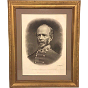SALE Antique General Joseph Johnston Lithograph Civil War Confederate Officer Eng A B Walter .