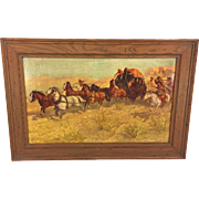 SALE Vintage Oscar Berninghaus Western Print Reproduced by Anheuser Busch in Frame Stagecoach
