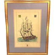 "SALE Antique Ship Lithograph entitled ""Isle of Man"" Hand Colored Framed and Matted"