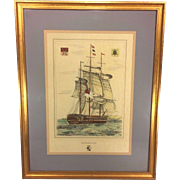 "SALE Antique Ship Lithograph ""Liverpool"" Hand Colored Framed and Matted"