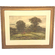 SALE Antique Ferdinand Moras Watercolor Pasture with Horsed Signed Framed Late 1800s