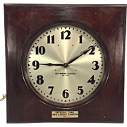 SALE Vtg Self Winding Clock Co Wall Clock Western Union Branded Mahogany Case Not Running ...
