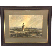 SALE Antique Ferdinand Moras Watercolor Painting Jesus Wandering in the Desert During the ...