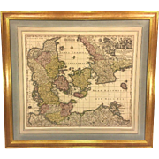 "SALE Antique Map of the Kingdom of Denmark Titled ""Dantae Regnum"" by Georg Matthaus"