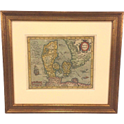 SALE Antique Map of Denmark Hand Colored Dantae Regnum Miliaria Germanica Communia in Frame