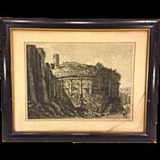 SALE Antique Luigi Rossini Etching Veduta dell'Avanzo dell'Anfiteatro Castgrense Framed & ...
