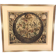 "SALE Antique Astronomy  Celestial Lithograph, ""Hamisphari Umborale Hamisphario""  Ant"