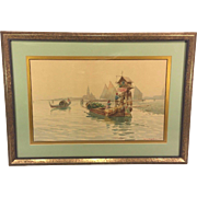 SALE Vintage Watercolor of Venice Water Scene by D G Augustini Framed & Matted