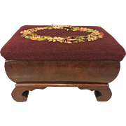 SALE Antique Empire Style Flame Mahogany Stool with Embroidery Top 1850s to 1870s