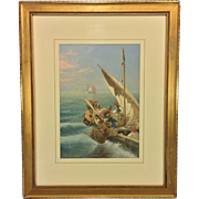 SALE Antique Seth Corbett Jones Venetian Fishing Vessels Watercolor Matted & Framed