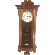SALE Antique Gustav Becker Vienna Wall Regulator Clock Nice Case Running Time Only Breitinger