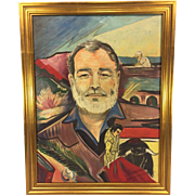 SALE Vintage Ernest Hemingway Oil On Canvas Signed by Author Signed by Artist  Nice Rendering