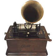 Antique Edison Cylinder Phonograph Model C Reproducer w/ Horn & 3 Cylinders Wood Hood Mechanis