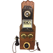 Antique Rotary Wall Pay Station Telephone Restored & Updated Oak Case  Electronic Works No ...