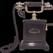 SALE Vintage Fyns Kommunale Telefonselskab Telephone European Look Metal Case Slate Top