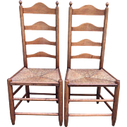 SALE Antique Pair of 18th Century Ladderback Chairs Rush Seats American Made