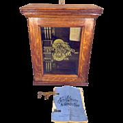 SALE Eco Magneto Watchman's Clock Boston MA Oak Case Key Wound Movement Around 1894 ...
