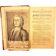 SALE Antique Rare Book The Sufferings of John Coustos for Free Masonry 1st Edit 1746