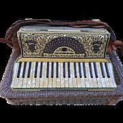 SALE Antique Moreschi & Sons Piano Key Accordion Italiian in Case w/ Two Music Books