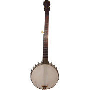 SALE Antique George C Dobson 5 String Banjo Early 1880s with Vintage Soft Case Silver ...