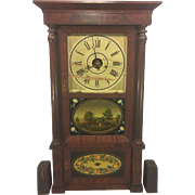 Antique Triple Decker Forestville Clock Mahogany Veneer Case Great Glass Tablets Cast Iron ...