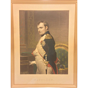 "SALE Antique Aquatint Engraving of Napoleon Gilt Wood Frame with ""N""s in the Corners"