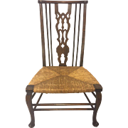SALE Antique English Tall Back Boot Chair Rush Seat Walter Skull & Son 1880s