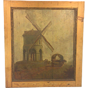SALE Antique Oil Painting on Wood Panels Windmill Wagon & People 17th to 18th Centuries Norman