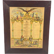 SOLD Antique PA Soldiers Memorial  in Frame 1863 Company H 151st Regiment, P.V. Beautiful ...