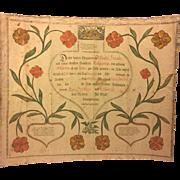 SALE Antique 1798 Fraktur Birth/Baptismal Record Wendel Hank, Parents Wendel and Katarina, ...