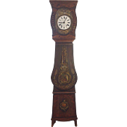 SALE Antique French Morbier Grandfather Clock Wag on Wall Circa 1870s to 1880s Not Running