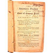 SALE Antique Book The Attorneys Practice in the Court of Common Pleas 3rd Edition 1758 ...